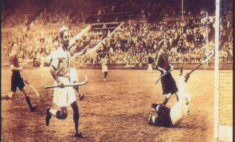 Balbir Singh Senior scores India's second goal in the final of 1948 Olympics. Image Courtesy: Balbir Singh Senior