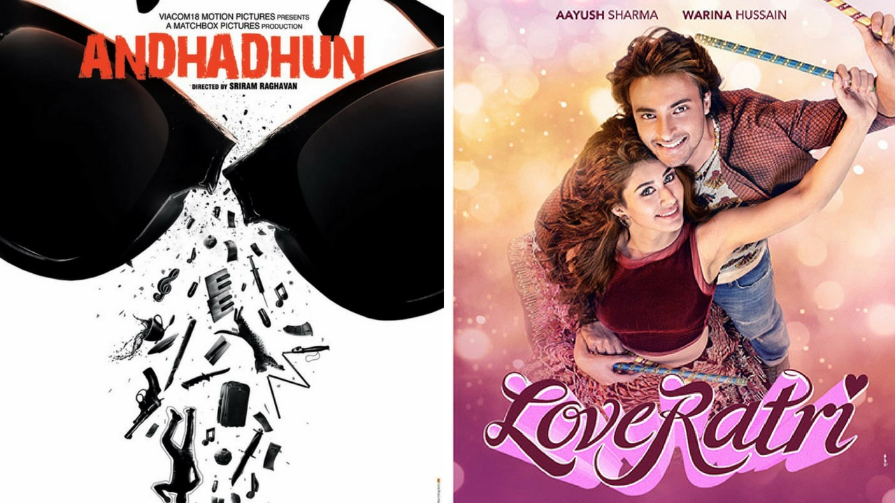 Posters of Andhadhun (left) and Loveratri
