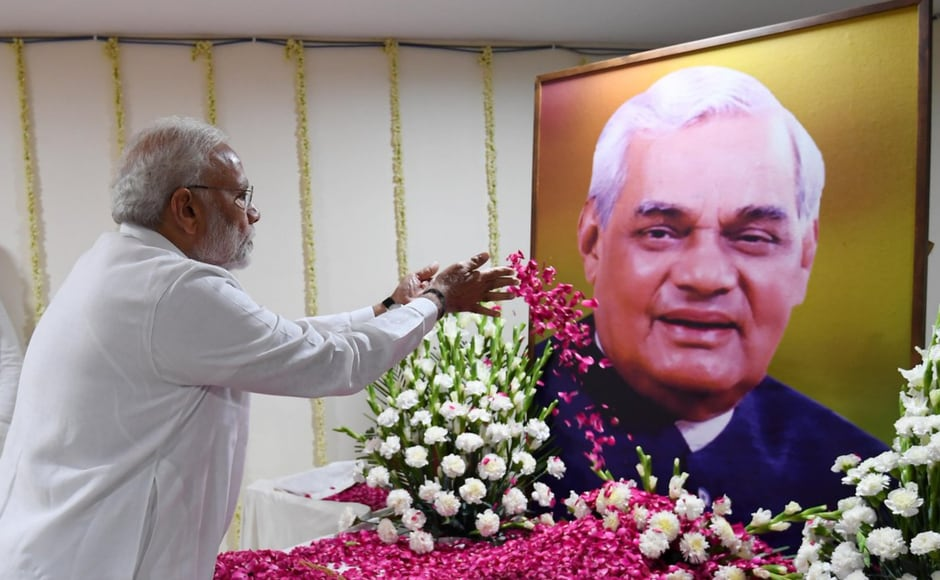 An all-party prayer meeting was held on Monday to pay tribute to former prime minister Atal Bihari Vajpayee in New Delhi. Addressing the meet, Narendra Modi said that Vajpayee ji set an example for all by dedicating his life to the nation, from adolescence till the end. Image courtesy: Twitter@PIBIndia