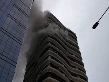 The crystal tower in Parel that caught fire. ANI