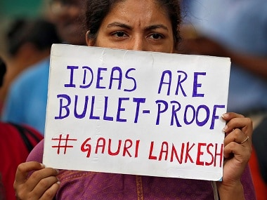 People attend a protest in New Delhi against the killing of Gauri Lankesh. Reuters