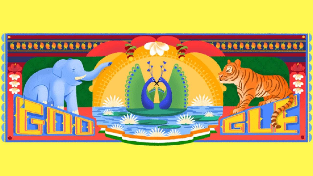 Google Doodle celebrating India's 72nd Independence Day.