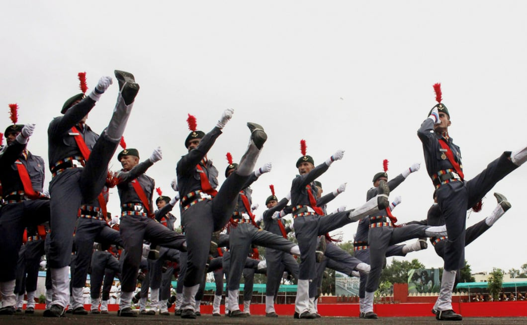 The National Cadet Corps (NCC) contingents marched during a full dress rehearsal to prepare for the Independence Day at the Motilal Nehru Police Stadium, in Bhopal. PTI