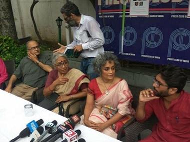 File photo of Arundhati Roy, Aruna Roy, Prashant Bhushan, Jignesh Mewani among other activists at the press conference. PTI
