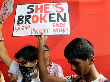 A protest condemning violence against women. AP
