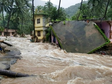 A house damaged during the floods in Kerala. PTI