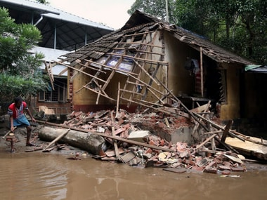 A file photo of a collapsed house after the floods in Paravur, in Kerala, on 23 August. Reuters