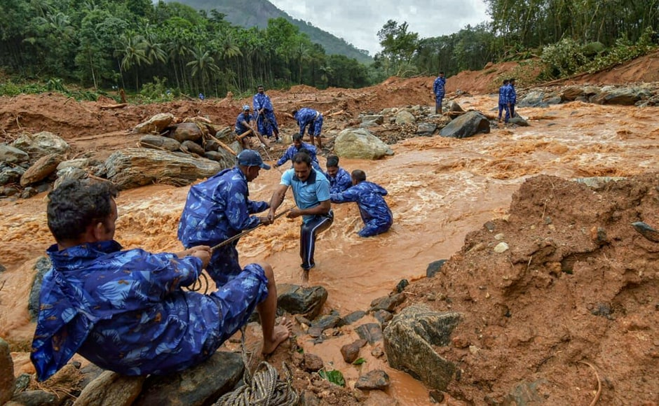 In Palakkad, rescue workers searched for the bodies of missing persons after heavy rains triggered a landslide on Friday. The meterological office forecast lesser rains in Kerala till Saturday, which should bring some relief to the embattled authorities. PTI