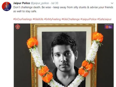 Kiki Challenge: Jaipur Police show living Kochi man as 'dead' to warn youth about dangers of viral trend