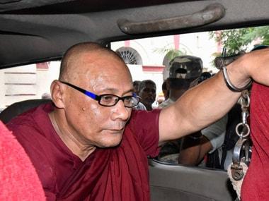 Bangladeshi Buddhist monk Bhante Sanghpriya Sujoy on Thursday. PTI