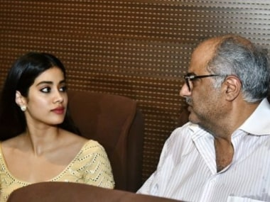 Boney Kapoor, daughters Janhvi and Khushi attend special screening of Mr India in Delhi