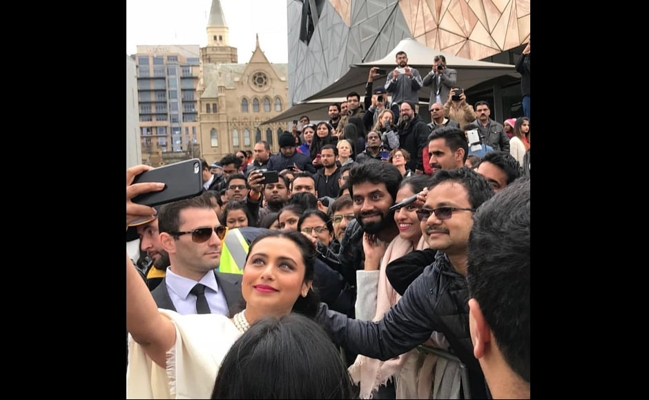 The actress also clicked selfies with fans assembled at the event. Twitter @Rani_MukerjiFC