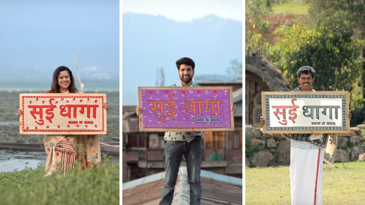 Artisans from all over India display the embroidered logo of Sui Dhaaga. YouTube