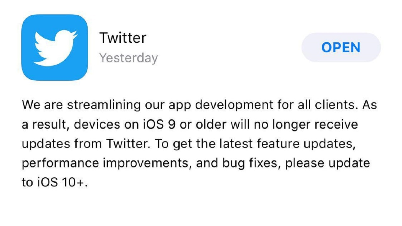 Latest Twitter update for the iOS app.
