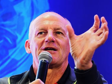 Atletico De Kolkata Head Coach Steve Coppell of the Indian Super League (ISL) gestures as he spekas during an event in Kolkata on September 22, 2018. This will be the fifth season of the Indian Super League, since its establishment in 2014. / AFP PHOTO / Dibyangshu SARKAR