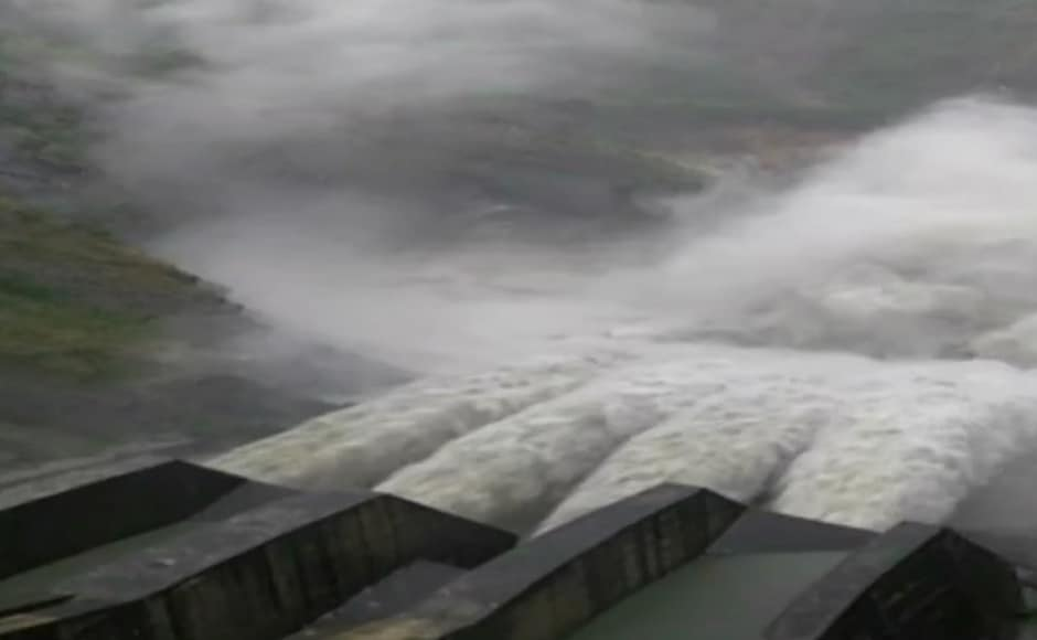 The gates of Chamera dam in Dalhousie, Chamba district, were opened on Monday to release excess water following heavy and incessant rainfall in the region. ANI/Twitter