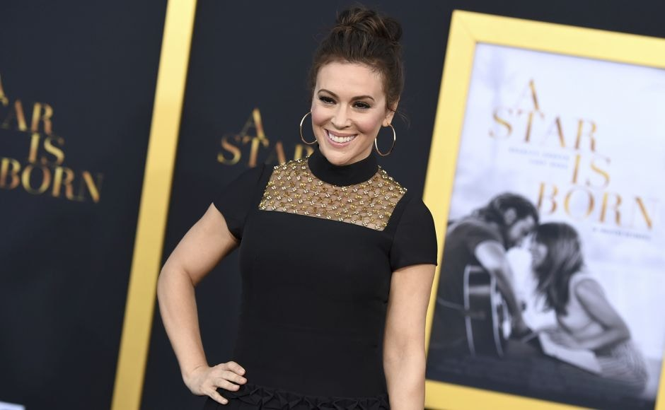 Alyssa Milano arrives at the Los Angeles premiere of A Star Is Born on Monday. Photo by Jordan Strauss/Invision/AP