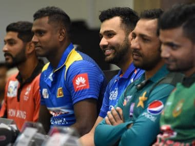 India's cricket captain Rohit Sharma (centre) speaks during an Asia Cup press conference on Friday. AFP