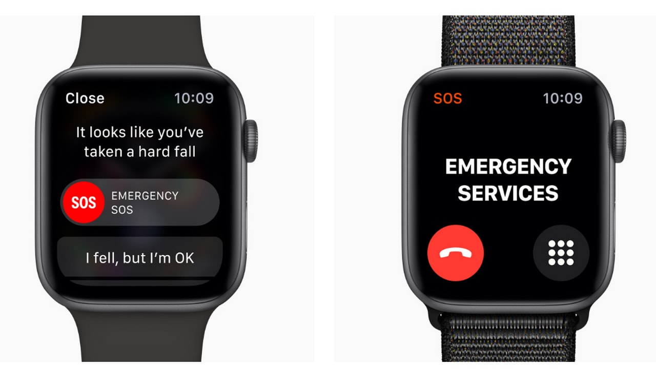 Another feature of the Series 4 is its SOS feature, which prompts for a response after a serious jerk or fall. It sends out an SOS call if you're immobile and don't respond to it in 60 seconds. Image courtesy: Apple