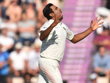 Ravichandran Ashwin celebrates after taking the wicket of England's Ben Stokes on Saturday. AFP