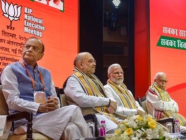 Prime Minister Narendra Modi, BJP president Amit Shah, finance minister Arun Jaitley and senior leader LK Advani during BJP national executive meeting. PTI