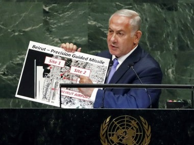 Benjamin Netanyahu claimed that Hezbollah had positioned three missile sites near Beirut airport. AP