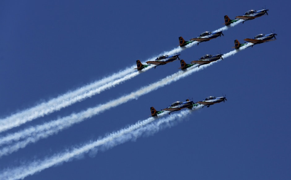 The country celebrated the event with air shows. Brazil's Aerial Demonstration Squadron also called 'Esquadrilha da Fumaca' performed during the celebration parade. AP