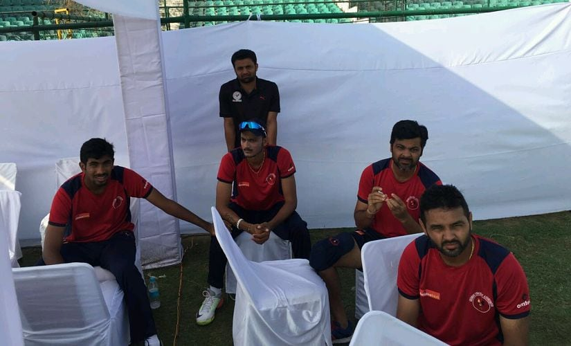 Jasprit Bumrah, Axar Patel, RP Singh and Parthiv Patel during a practice session. Image procured by Devdutt Kshirsagar/Firstpost