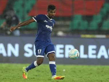 Dhanpal Ganesh of Chennaiyin FC during match 41 of the Hero Indian Super League between Chennaiyin FC and Delhi Dynamos FC held at the Jawaharlal Nehru Stadium, Chennai India on the 7th January 2018 Photo by: Arjun Singh / ISL / SPORTZPICS
