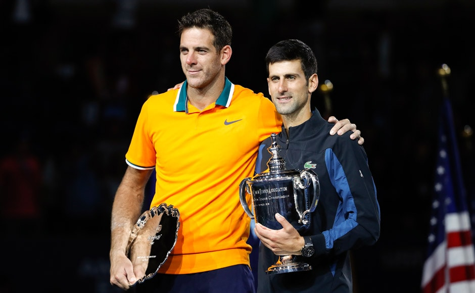 Djokovic and Del Potro had kinds words for each other after the final, Del Potro backing the Serbian to beat Roger Federer's record of 20 Grand Slams and Djokovic commending Del Potro for fighting back from injuries. AP