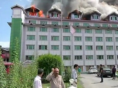 A fire broke out at Hotel Pamposh in Srinagar on Saturday. ANI
