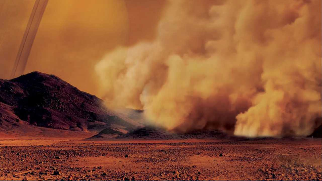 An artist's conception of dust storms on Titan. Image courtesy: University Paris Diderot