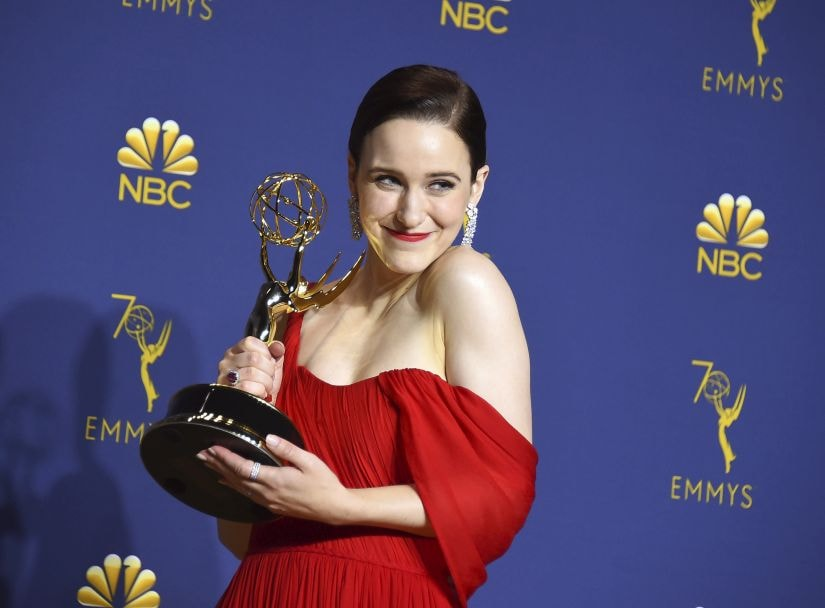 """Rachel Brosnahan winner of the award for outstanding lead actress in a comedy series for """"The Marvelous Mrs. Maisel"""" poses in the press room at the 70th Primetime Emmy Awards on Monday, Sept. 17, 2018, at the Microsoft Theater in Los Angeles. (Photo by Jordan Strauss/Invision/AP)"""