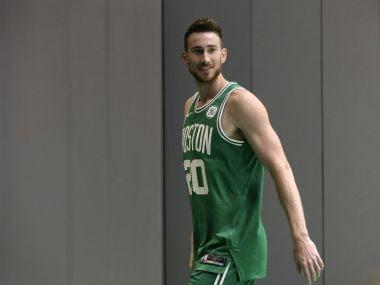 Boston Celtics' Gordon Hayward takes part in a photo shoot on Thursday. AP
