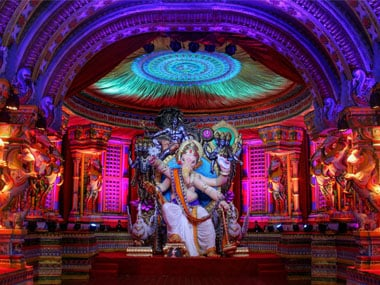 The first look of 'Chintamani 2018' on the eve of Ganesh Chaturthi festival, at Chinchpokli in Mumbai. PTI