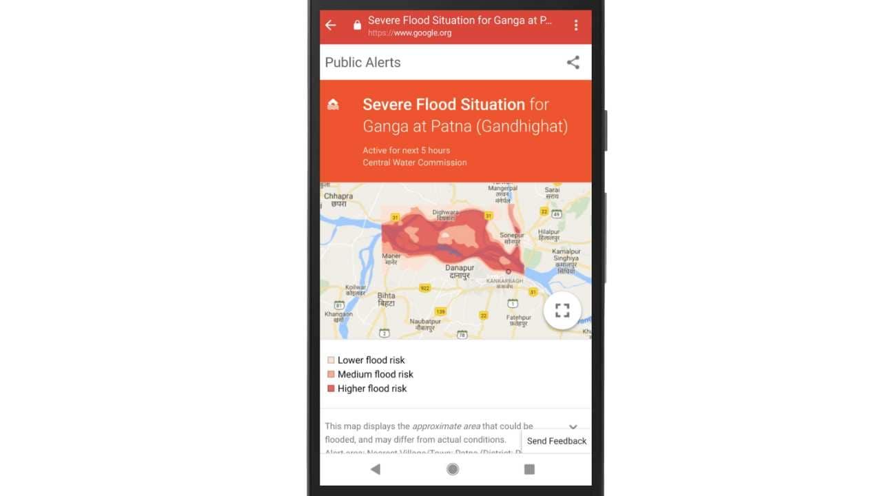 Google Public Alerts rolls out AI-enabled flood-forecasting in Patna. Image courtesy: Google