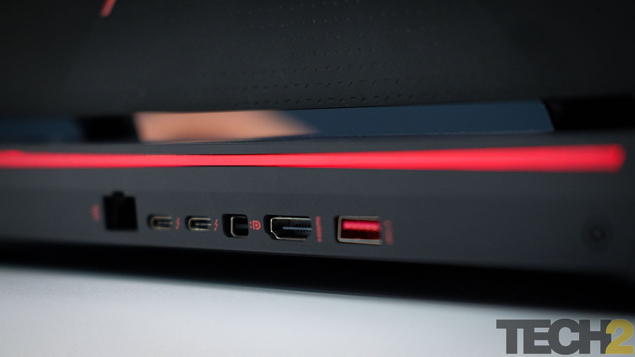 HP was very generous with I/O on the Omen. You'll even find ports on the back. Image: tech2/Anirudh Regidi