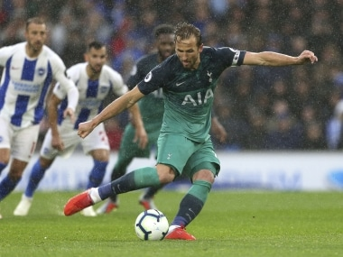 Harry Kane moved alongside Jermain Defoe as the joint fifth highest Tottenham scorer of all time on 143 after scoring against Brigton on Saturday. AP
