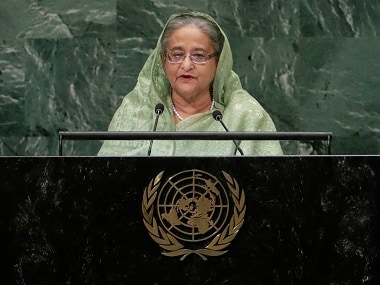 Bangladesh's prime minister Sheikh Hasina addresses the 73rd session of the United Nations General Assembly. AP