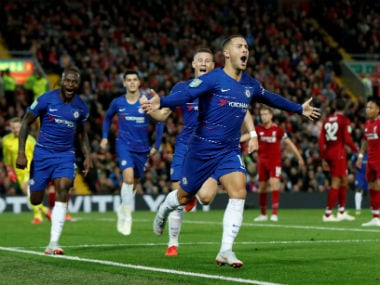 Chelsea's Eden Hazard celebrates scoring their second goal. Reuters