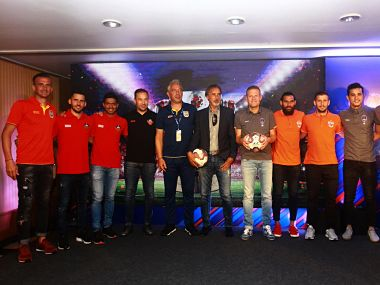 Player and coaches from FC Goa, Mumbai City FC, FC Pune City and Delhi Dynamos at the ISL Media Day in Mumbai. Image courtesy: Twitter @IndSuperLeague