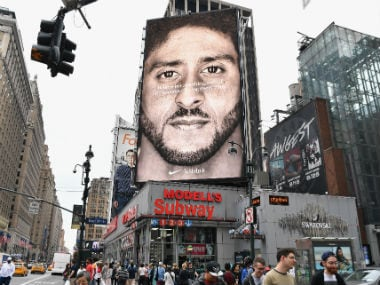 "The new record came 10 days after Nike unveiled a sweeping new ""Just Do It"" marketing blitz featuring Kaepernick, who has been effectively blacklisted from the National Football League after protesting racism in law enforcement. AFP"