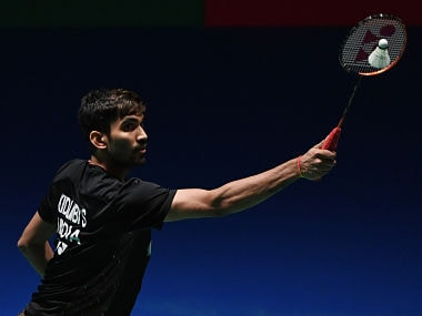 India's Srikanth Kidambi hits a return towards South Korea's Lee Dong-Keun during their men's quarter-final match at the Japan Open badminton championships in Tokyo on September 14, 2018. / AFP PHOTO / Toshifumi KITAMURA