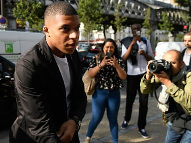 Kylian Mbappe arrives at French football federation (FFF) headquarters prior to his appeal hearing before the FFF disciplinary committee in Paris. AFP