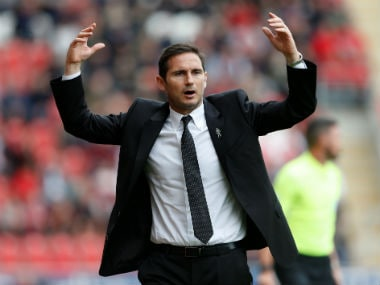 Derby County manager Frank Lampard reacts during the match. Reuters