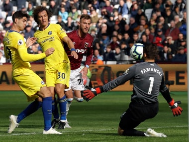 Lukasz Fabianski pulled off a couple of excellent saves to deny Alvaro Morata from close range and Ross Barkley's speculative attempt from distance. AP