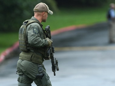 First responders at the scene of the Maryland shooting Thursday. AP