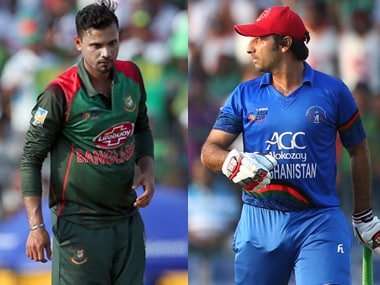 File image of Bangladesh captain Mashrafe Mortaza (L) and Afghanistan's skipper Asghar Afghan. Agencies