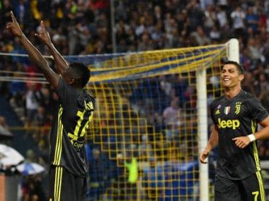 Sports Juventus' French midfielder Blaise Matuidi (L) celebrates next to Cristiano Ronaldo after scoring a goal. AFP