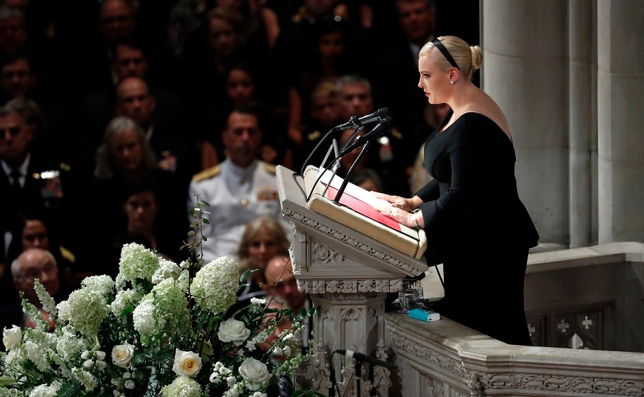 """Meghan McCain delivered an emotional rebuke to Trump without mentioning his name. Taking aim at Trump's campaign slogan, """"Make America Great Again,"""" she said McCain's America was always great. AP"""